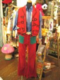 70's『Wrangler』 PETER MAXコラボ コーデュロイ ベルボトム W27 (レッド×グリーン×etc)