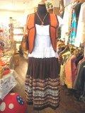 Vintage  メキシカン刺繍 フレアスカート (ブラウン)