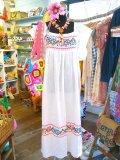 60's Vintage  クロスステッチ  Hippie ドレス (オフホワイト)