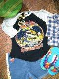 80's「AZIA」ラグランTシャツ (ブラックxサックス)