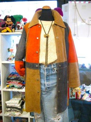 画像1: ★★★SALE★★★ Vintage  ヌバックレザー マルチカラー コート (ブラウン系)