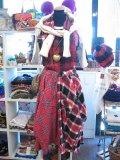 ★★20%OFF★★ 『Nyaoko BY NAOKO USHIRO』 ネルシャツリメイク  サロペットスカート (レッド×ブラック)