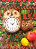 60's Vintage  OWL  Family   壁掛け時計 (ブラウン)