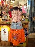 「SOLリメイク」 Levi'sデニム フラワー刺繍スカート W32(オレンジ)