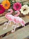 フラミンゴ刺繍ワッペン (ピンク)