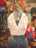 カントリーガール刺繍 コットンブラトップ(ホワイト)