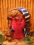 70'sVintage Vera スカーフ (ネイビーxレッドxホワイト)
