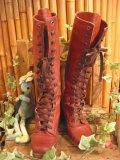Vintage リアルレザー レースアップ ブーツ(ワインレッド)
