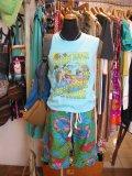 70's Vintage 裾フリル リゾートフラワー ハーフパンツ(キミドリ)
