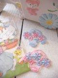 Vintage カゴ フラワー  刺繍  ワッペン(2color)