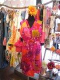 70'sVintage Hawaiian 襟元フリル リゾートワンピ (ピンク)