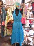 胸元カギ編み インド綿 ホルターネックワンピ (スカイブルー)