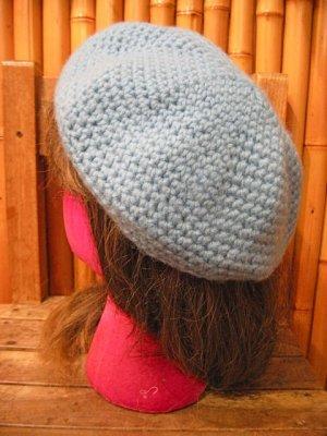 画像1: サックス ニット ベレー帽 (サックス)