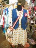 ★★★SALE★★★ 70's Vintage ヒマワリ柄 シースルー レトロワンピ (ホワイト)
