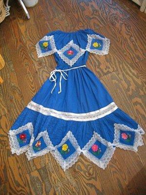 画像2: 70's Vintage お花刺繍 肩ヒラヒラ チュニック ワンピ(ブルー)
