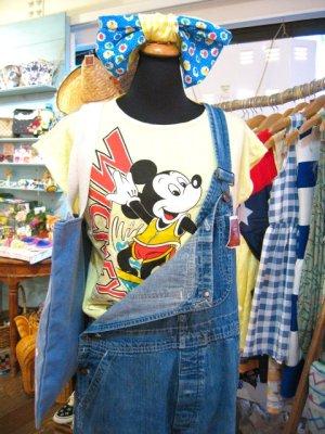 画像1: OLD  Mickey サーフィン Tシャツ (レモンイエロー)