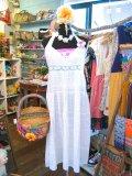 70's Vintage  ステッチクロス ホルター ドレス (オフホワイト)