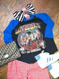 80's「LOVERBOY」ラグランTシャツ (ブラックxブルー)