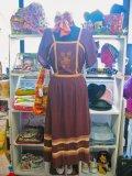 ★★★SALE★★★ 70's Vintage お花刺繍 ヒラヒラ チュニックワンピ(ブラウン)