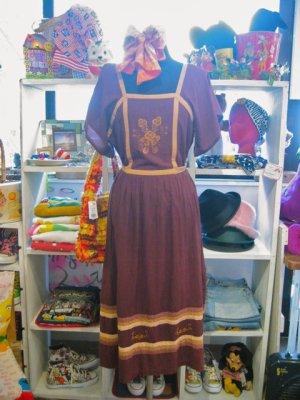 画像1: ★★★SALE★★★ 70's Vintage お花刺繍 ヒラヒラ チュニックワンピ(ブラウン)