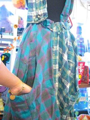 画像4: ★★20%OFF★★ 『Nyaoko BY NAOKO USHIRO』 ネルシャツ サスペンダー スカート(グリーン系)