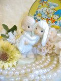 Vintage   LOVE  Wedding    陶器 置物 (ホワイト×サックス)