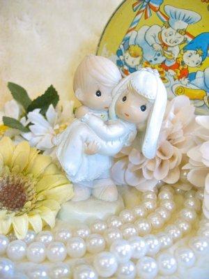 画像1: Vintage   LOVE  Wedding    陶器 置物 (ホワイト×サックス)