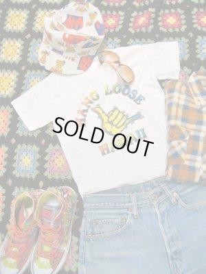 画像1: HANG  LOOSE  HAWAII  Tシャツ (ホワイト×レインボー )