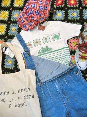 画像1: マリンプリント ボーダ Tシャツ(ホワイト×グリーン)