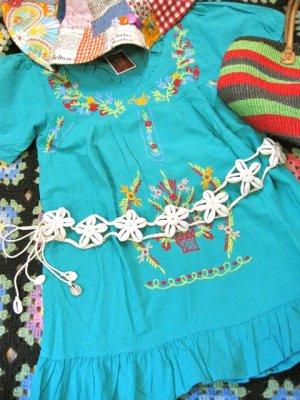 画像1: フラワーデザイン シェル  編み編み 飾りベルト (ホワイト)
