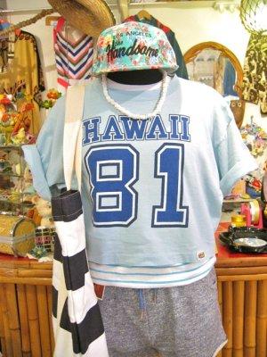 画像1: 「crazy shrts」 HAWAII  ショート丈  Tシャツ (サックス)