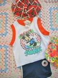 ★★20%OFF★★ U.S.A  Surfer  Mickey  タンクトップ T100  (ホワイト×オレンジ)