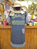 ★★★SALE★★★ 『maple sugar』 ドロップショルダー カレッジプリント 半袖 ワンピ (ブルー)