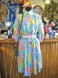 70's Vintage 七分袖 フローラル柄  ワンピ (カラフル)
