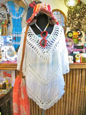 画像1: 透かし編み 七分袖 ゆるトップス (ホワイト)