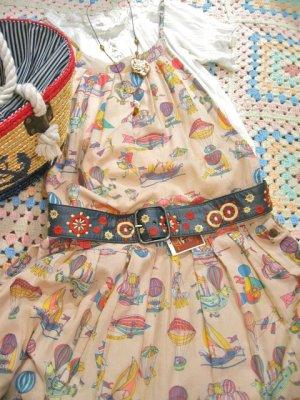 画像1: Vintage ラダー刺繍 レザーベルト (ネイビー)