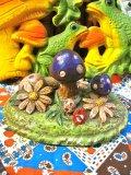 70's Vintage Mushroom 陶器 オブジェ(グリーン×カラフル)
