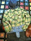 USED チェック ウール ネルシャツ (グリーン系)