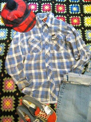 画像1: ★★★20%OFF★★★USED「Lee」チェックネルシャツ (ブルー系)
