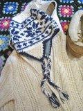 雪柄 耳当て付き WOOL ニット帽 (ホワイト×ネイビー)