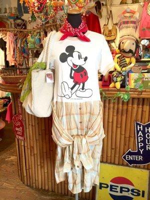 画像1: USED トリム    Tシャツ  With シャツワンピ (ホワイト×チェック)