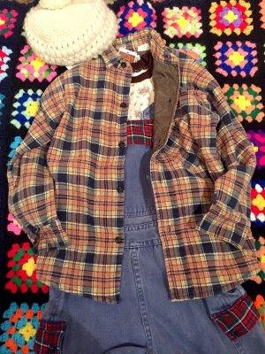 画像1: USED  裏地キルティング Boy'sチェックネルシャツ(BR×NV×BE)