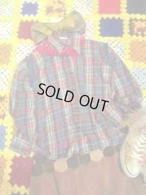 画像1: USED リメイクネルシャツ&デニムフリフリ(カラフルチェック)