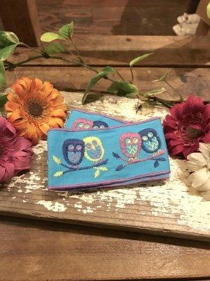 画像1: Vintageフクロウ刺繍チロリアンテープ(ブルー×カラフル)