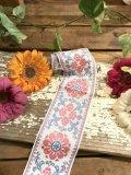Vintage フラワー刺繍 チロリアンテープ(ホワイト×ピンク×ブルー)