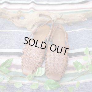 画像1: FromU.S.A basket  leather sandal(brown)