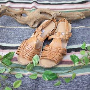 画像1: FromU.S.A real leather sandal(camel)