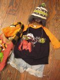 80's「Grateful Dead」ラグランTシャツ (ブラックxオレンジ)