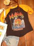80's「DEF LEPPARD」ラグランTシャツ (ブラックxオレンジ)