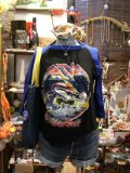 80's「ASIA」七部袖ラグランTシャツ(ブラックxブルー)